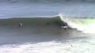 The Hook - South Swell Santa Cruz CA - Surfer nearly hits bird