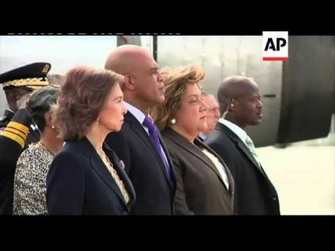 Queen Sofia of Spain arrives for visit, meets President Martelly, visits projects