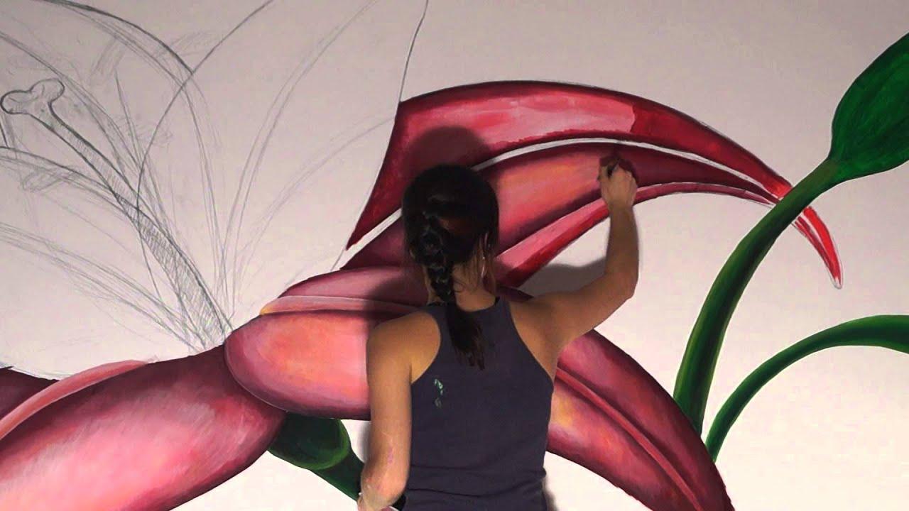 Wall Painting. Flower Lily/ Художественная роспись стен. Цветок Лилия :)