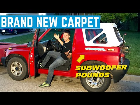 We Put BRAND NEW Carpet In The 1996 Geo Tracker *And Finished The Audio*