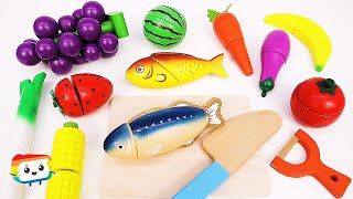 Learn Namesㅣ♣ Fruit & Vegetables Fish Wooden Cutting Toys Rainbow English Education + with Pictures