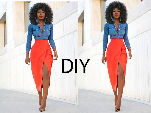 DIY Pencil Skirt With High Slit (Easy Sewing)