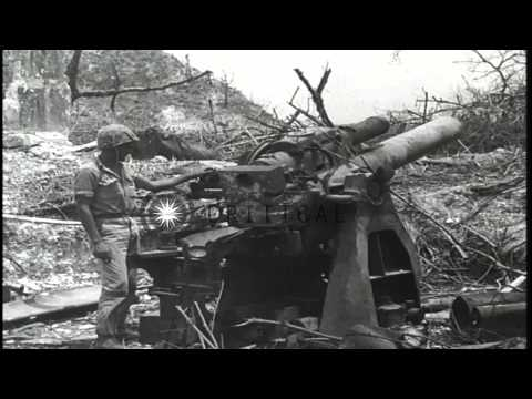 US 1st Marine Division, 5th Marine Regiment in action against Japanese forces at ...HD Stock Footage