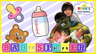 Hulk Funny Kids Video babysitting with Ryan ToysReview