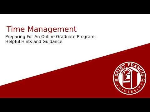 Time Management - Preparing for an Online Graduate Program