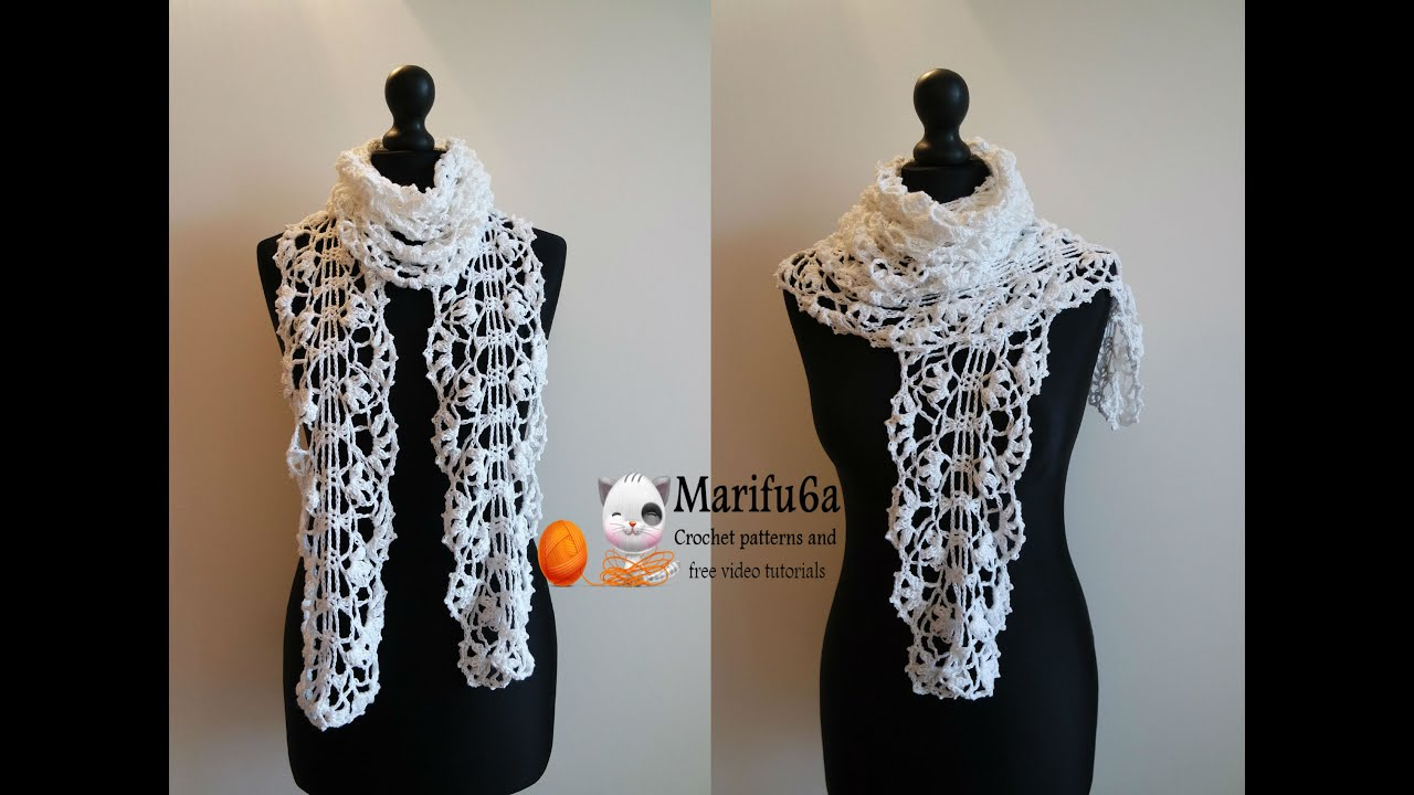 How to crochet white lace scarf free pattern tutorial - YouTube