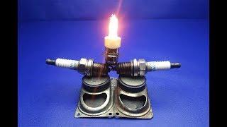 Experiment New Idea For 2019 Free Energy Using Spark Plug Generator