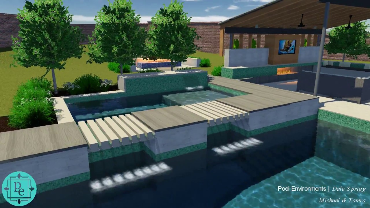 Frisco TX Curved Contemporary Pool design with double grotto ...