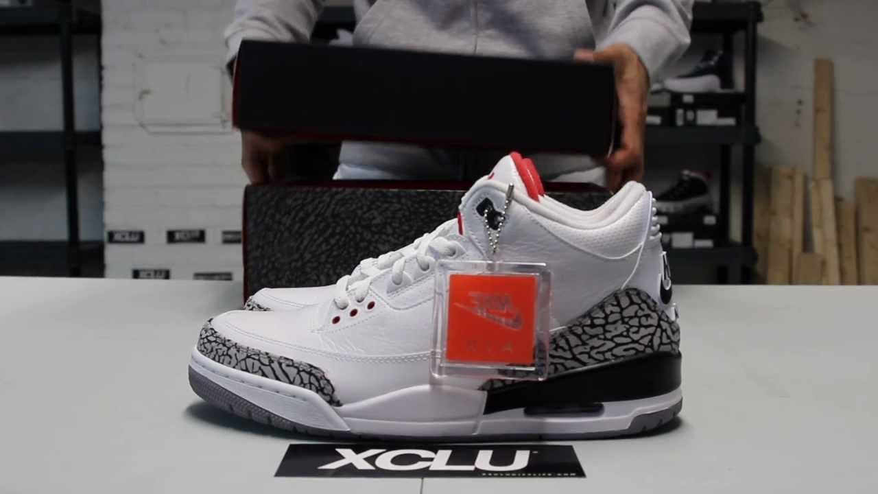 21b73b62e072aa Air Jordan 3 Retro 88s - White Cement - Unboxing Video at Exclucity ...