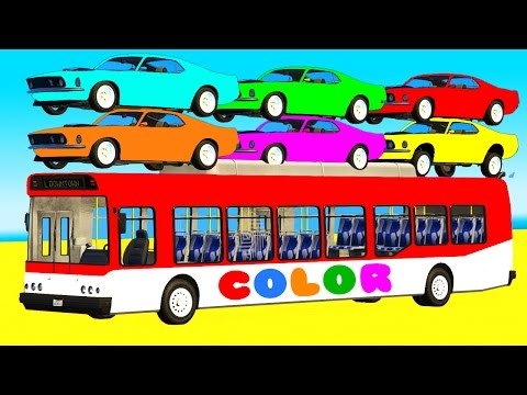 Thumbnail: COLOR Cars on BUS & Spiderman Cartoon 3D for Kids w Superheroes for babies