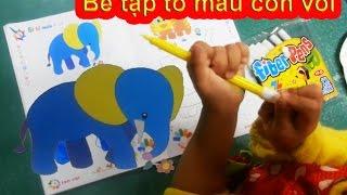 Bé tập tô màu - Bé tô màu con voi - Tô màu Chú Voi Con Ở Bản Đôn pass 1