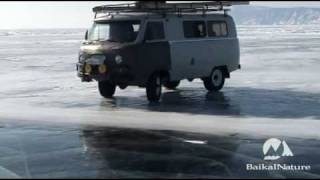 Russian 4x4 UAZ Burnout on Baikal Ice :-)
