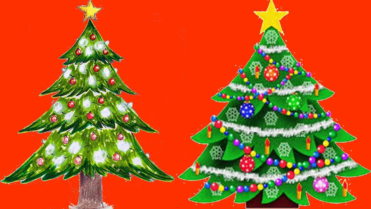 Christmas Tree Drawing Painting Coloring | Boyaboya - YouTube