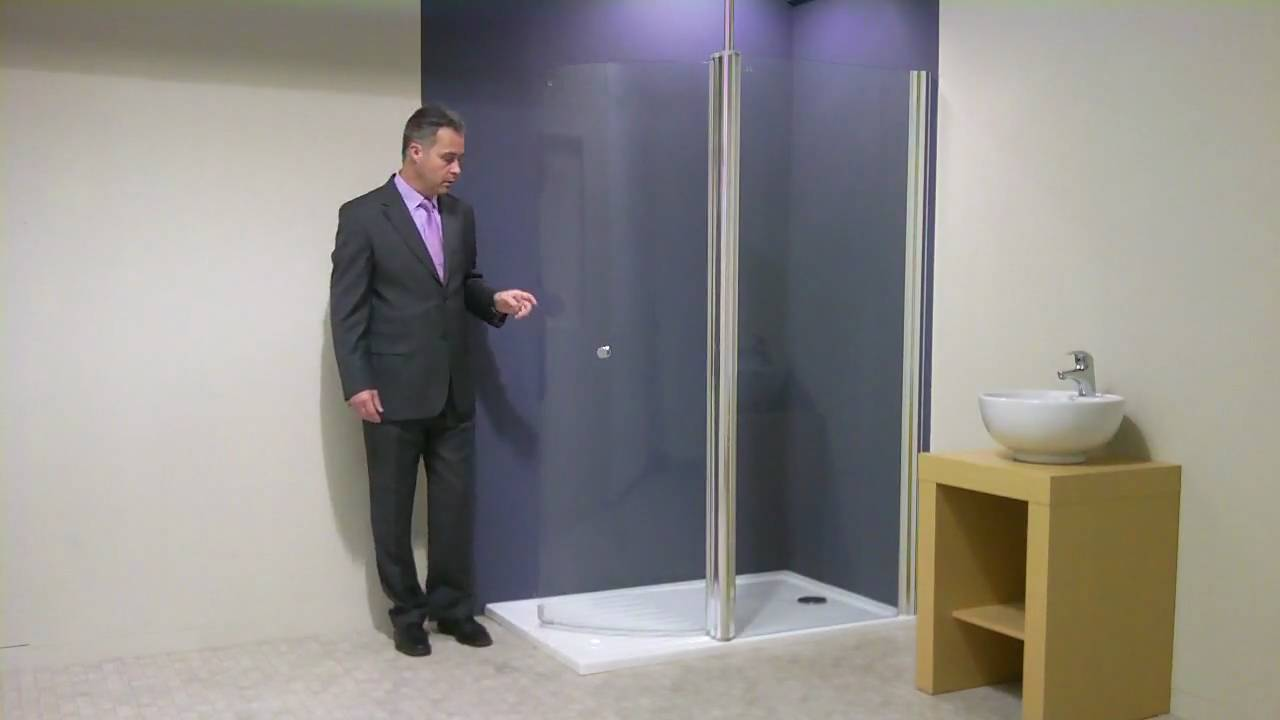 Walk In Shower with large curved glass hinged screen - YouTube