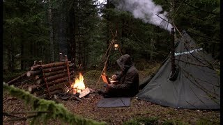 Bushcraft Solo Winter Camping - Canvas Tent, Woodstove, Axe, Campfire, Outdoor Cooking