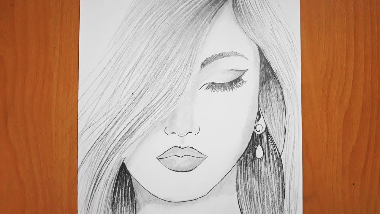 Adım Adım Kız Nasıl Çizilir /How to draw a girl / Pencil Sketch drawing/drawing of beautiful girl