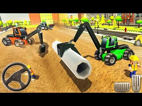 City Pipeline Construction Work: Plumber - Excavator Vehicles 3D - Android GamePlay