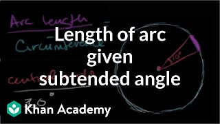 Length of an arc that subtends a central angle Circles Geometry Khan Academy