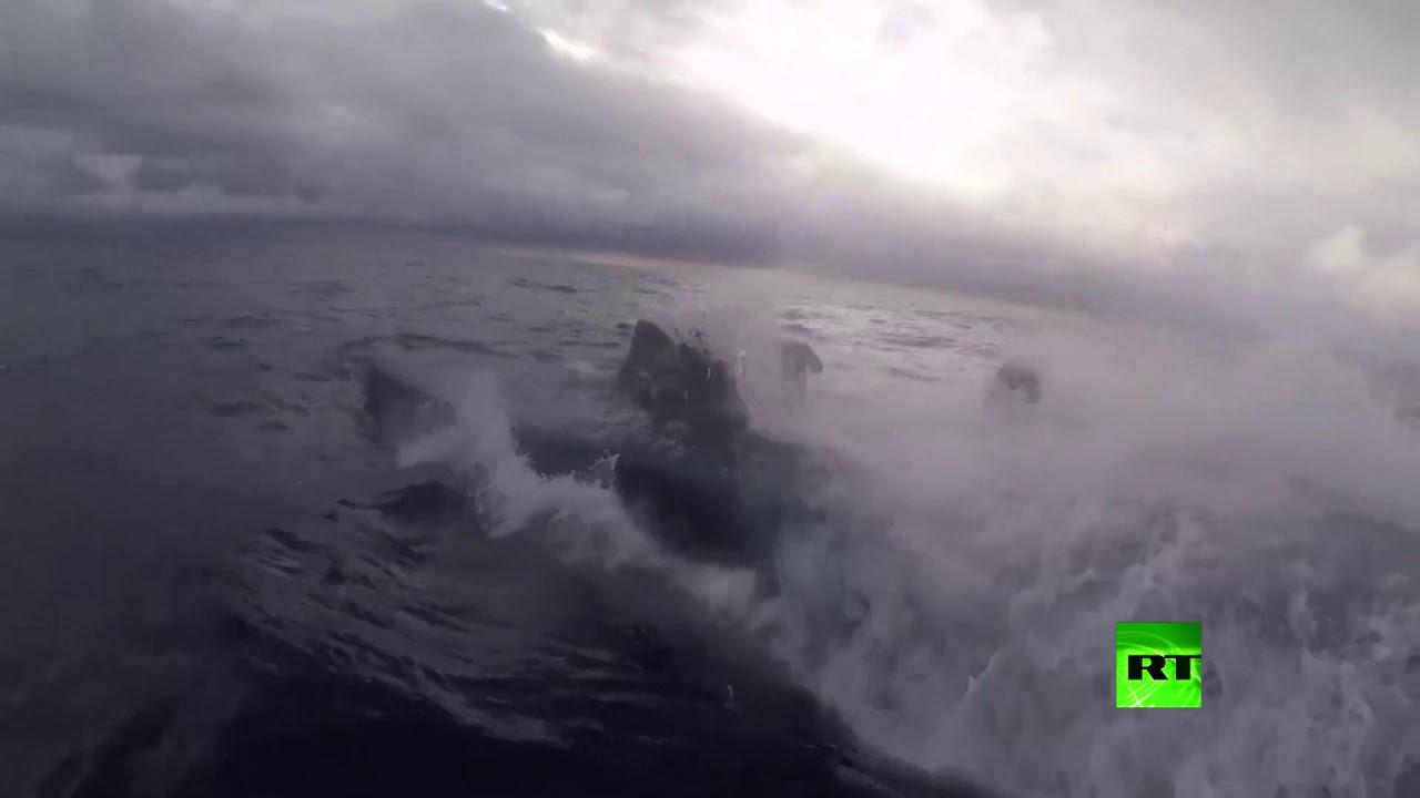 لحظة اقتحام غواصة محملة بالمخدرات في مياه المحيط الهادئ