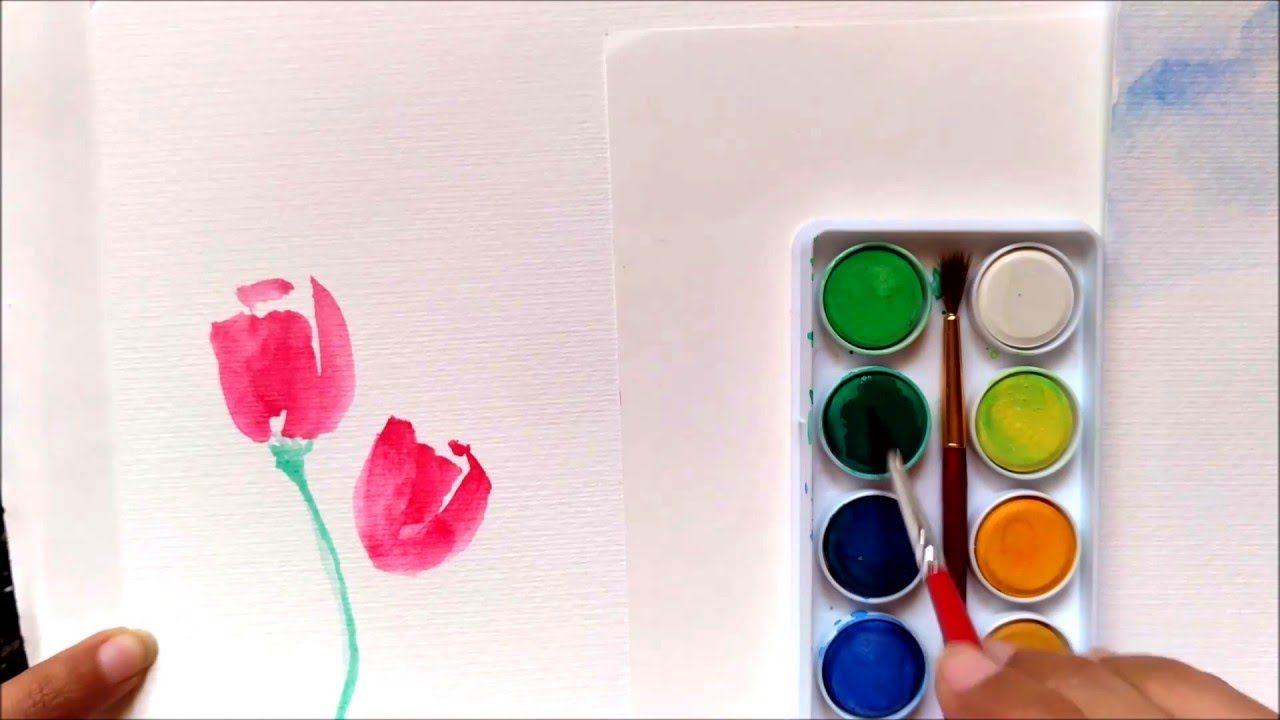 Easy tutorial how to paint tulips using watercolor for for How to use watercolors for beginners