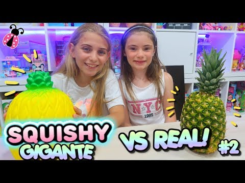 SQUISHY GIGANTE Vs REAL FOOD #2 🍉🍍 Los Juguetes De Arantxa