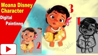 Moana Disney character digital Painting || Speed Painting video draw online