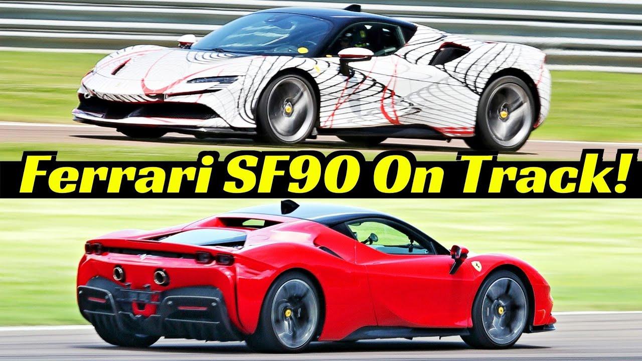 Ferrari Sf90 Stradale On Track 1000hp Plug In Hybrid Supercar V8 Twin Turbo Engine Sound Youtube