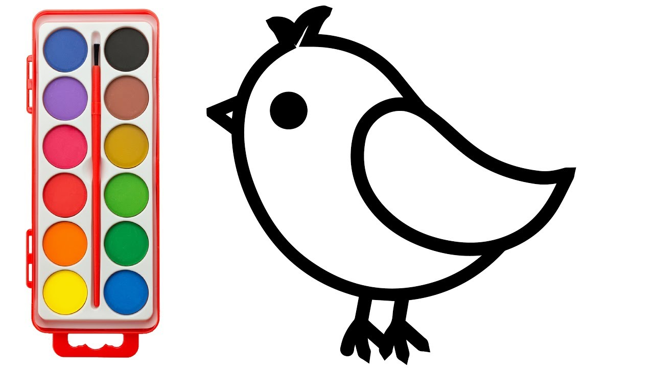 How to Draw Cute Bird | Kids Learning Color with Animals Coloring ...