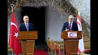 KKTC Cumhurbaşkanı Akıncı ile Bakan Çavuşoğlu ortak basın toplantısı düzenledi