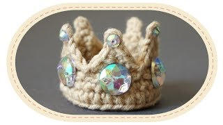 Корона для игрушки крючком. Crochet crown for a toy.