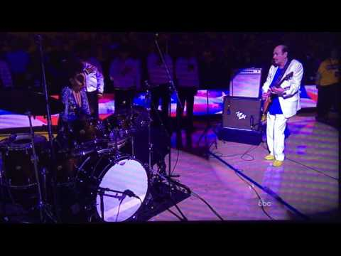 Carlos Santana & Wife Cindy Blackman perform the Star Spangled Banner,pre tipoff NBA Finals 06/05/16