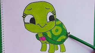 Como dibujar y pintar paso a paso a Tortuga - How to draw and paint step by step Tortuga