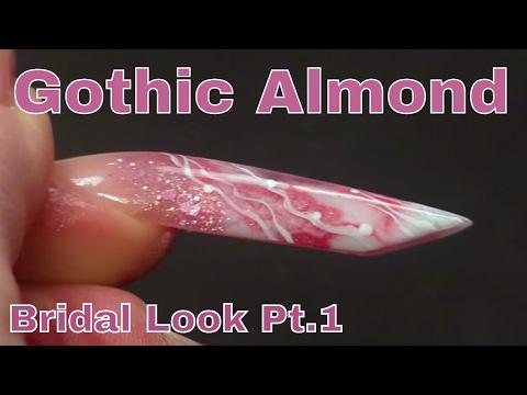 Alternative Bridal Nail Design using Netting, Acrylic and Gel Polish - Gothic Almond Shape