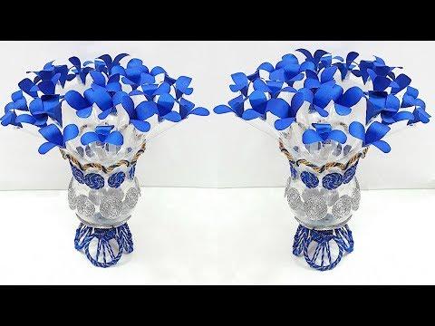 DIY-Guldasta/Flower vase made with Paper flower and plastic bottle| DIY Paper Flower Guldasta