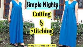 Simple Nighty Cutting and Stitching | Easy Night Dress For Women | Eng Subtitles | Stitch By Stitch