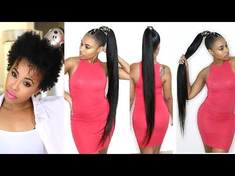How to do a Quick Weave Long Ponytail on Short Natural Hair