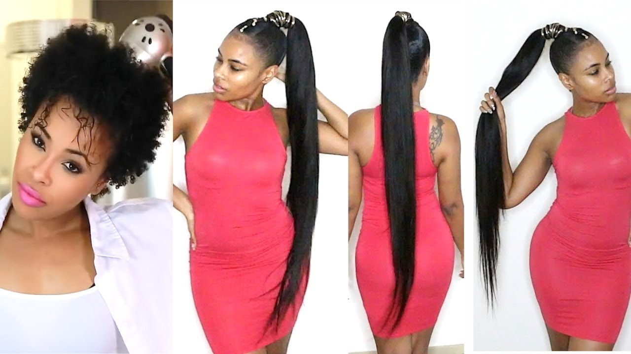 How To Do A Quick Weave Long Ponytail On Short Natural Hair Youtube