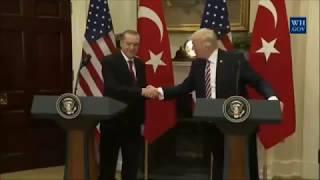 Рукопожатие Дональда Трампа с Президентом Турции Реджеп Тайип Эрдоганом