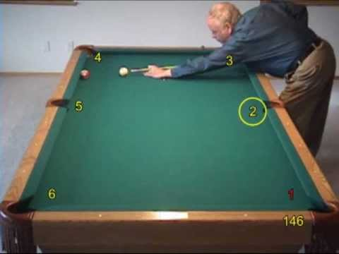 """Pool and billiards bank shot challenge drill - """"bank to all pockets,"""" from VEPP IV (NV C.15)"""