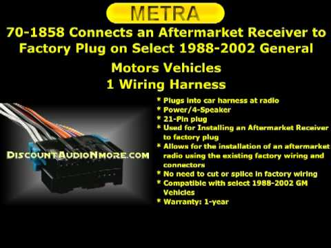 hqdefault 70 1828 $10 95 free shipping 1988 2002 gm vehicle wiring harness metra 70-1858 receiver wiring harness at creativeand.co