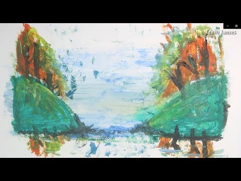 Simple Abstract Painting|Landscape|Acrylics Techniques on canvas #2|Satisfying Demo