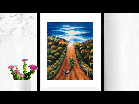 Landscape painting tutorial for beginners | Acrylic peacock painting | Dassa Art |