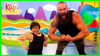Ryan Pretend play with WWE Superstar Braun Strowman on Ryan's Mystery Playdate!