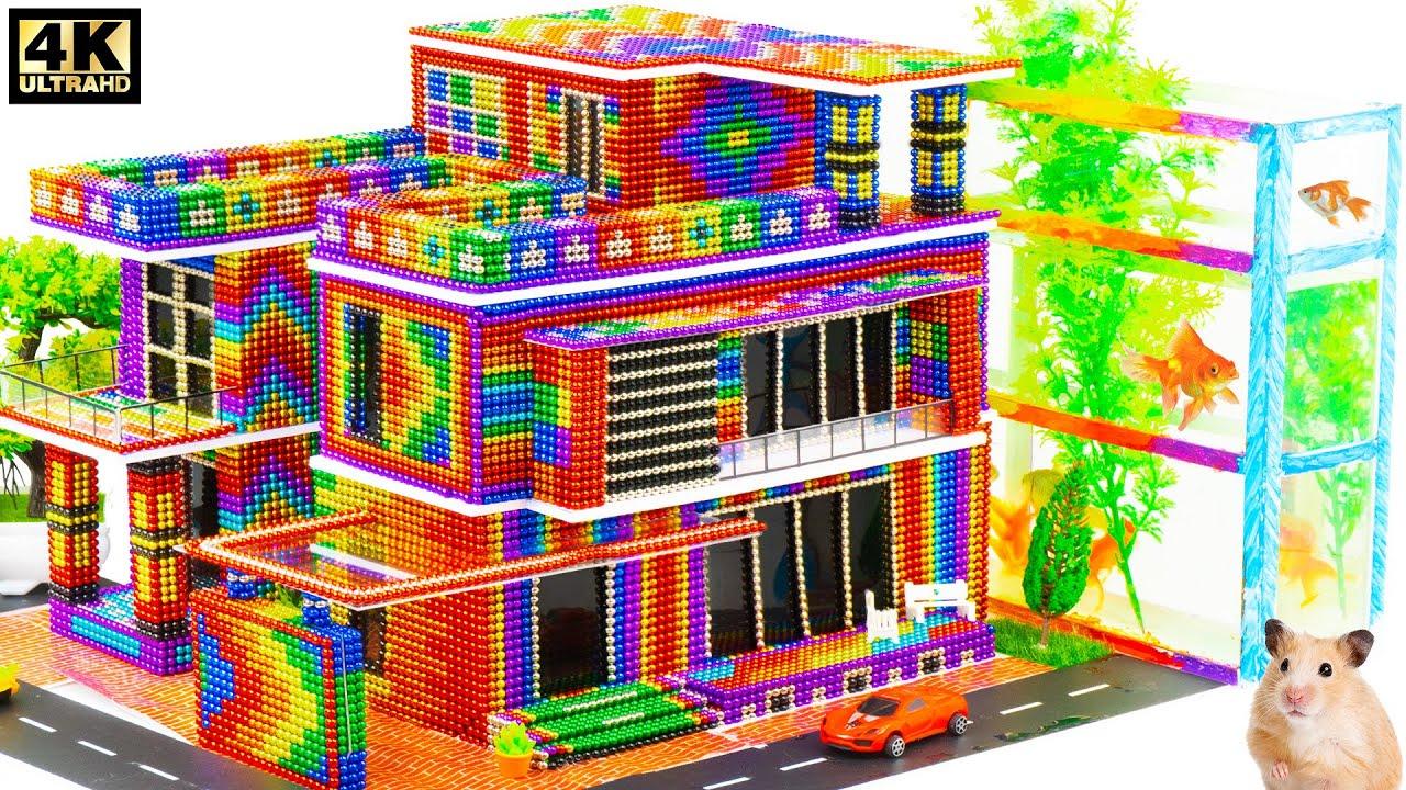 Build Modern Aquarium Mansion House For Goldfish From Magnetic Balls ( Satisfying )