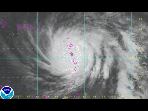 HURRICANE MARIA CATEGORY 5 EYE OVER DOMINICA HEADING FOR VIRGIN ISLAND PUERTO RICO, JOSE MOVES NORTH
