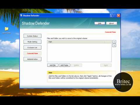 Shadow Defender is an easy to use security solution by Britec