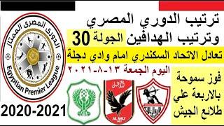 ترتيب الدوري المصري وترتيب الهدافين الجمعة 13-8-2021 الجولة 30 - تعادل الاتحاد وفوز سموحة بالاربعة