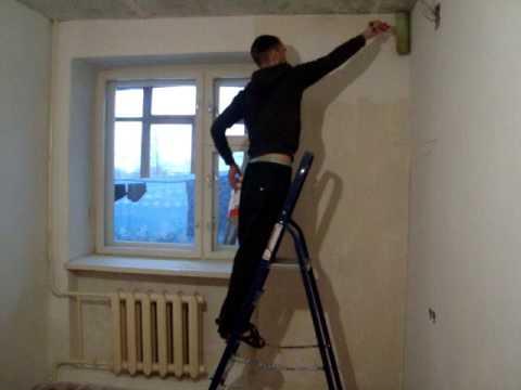 Как правильно грунтовать стену валиком грунтовкой???