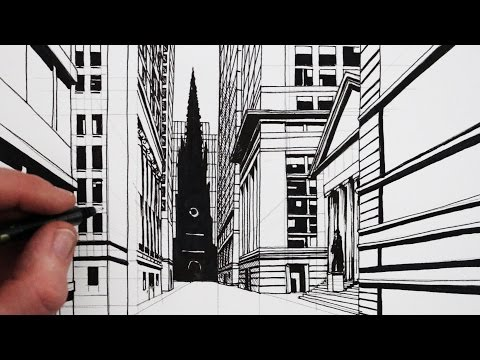 How to Draw 1-Point Perspective: A View of Wall Street NY