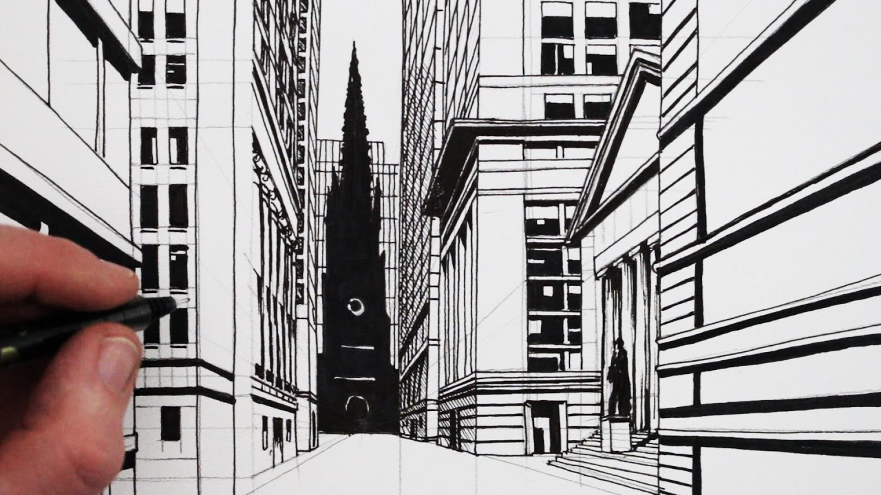 Perspective Drawings Of Buildings how to draw a 1-point perspective street: draw wall street